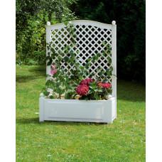 Шпалера 100 (см) с большим ящиком для растений. Белая