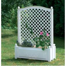 Шпалера центральная (100 см) с большими ящиками для растений. Белая