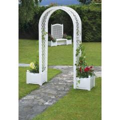 Садовая арка с ящиком для растений. Белая