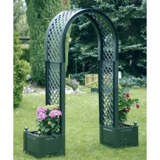 Садовая арка с ящиком для растений. Зеленый