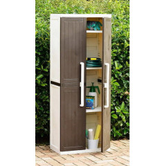 Уличный шкаф TOOMAX WOOD LINE S 255B (4 полки, 2-х дверный, узкий, коричневый)