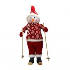 Снеговик на лыжах в красном костюме 66 см (2)