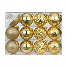 Набор ёлочных шаров, пластик, Ø 6 см, золото, 12 шт