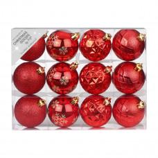 Набор ёлочных шаров, пластик, Ø 6 см, красный, 12 шт