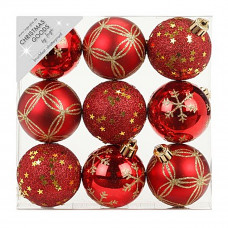 Набор ёлочных шаров, пластик, Ø 6 см, красный, 9 шт