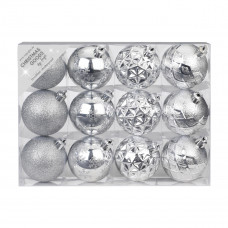 Набор ёлочных шаров, пластик, Ø 6 см, серебро, 12 шт