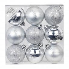 Набор ёлочных шаров, пластик, Ø 6 см, серебро, 9 шт
