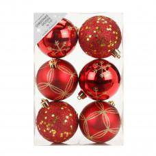 Набор ёлочных шаров, пластик, Ø 8 см, красный, 6 шт