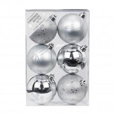 Набор ёлочных шаров, пластик, Ø 8 см, серебро, 6 шт