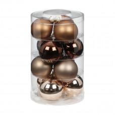 Набор ёлочных шаров, стекло Ø 6 см, коричневый/бежевый, 12 шт