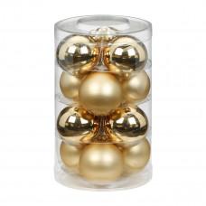 Набор ёлочных шаров, стекло, Ø 6 см, золотой блестящий/матовый, 12 шт