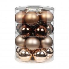 Набор ёлочных шаров, стекло, Ø 6 см, коричневый/бежевый, 20 шт