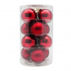 Набор ёлочных шаров, стекло, Ø 6 см, красный блестящий/матовый, 12 шт