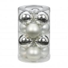 Набор ёлочных шаров, стекло, Ø 6 см, серебро/белый, 12 шт
