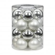 Набор ёлочных шаров, стекло, Ø 6 см, серебро/белый, 20 шт